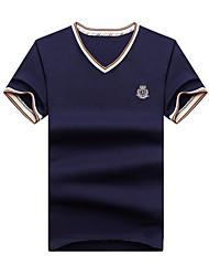 Einfarbig Einfach Aktiv Ausgehen Lässig/Alltäglich Strand T-shirt,V-Ausschnitt Frühling Sommer Kurzarm Blau Rosa Rot Weiß Grau Grün Gelb