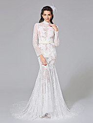 LAN TING BRIDE Trumpet / Mermaid Wedding Dress See-Through Chapel Train High Neck Lace Organza with Appliques Beading Crystal