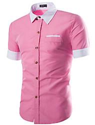 Herren Solide Einfarbig Einfach Lässig/Alltäglich Arbeit Hemd,Hemdkragen Frühling Sommer Kurzarm Blau Rosa Grau Baumwolle Mittel