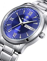 WWOOR Men's Fashion Watch Wrist watch Quartz Calendar Alloy Band Vintage White White Black Blue