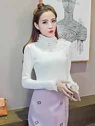 unterzeichnen 2017 neue Feder Hälfte hohen Kragen mit langen Ärmeln Strickhemd weibliche Pullover Perlen Spitze Absicherung