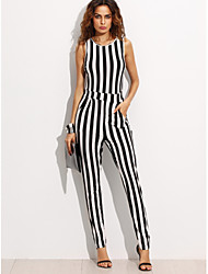 Women's Fine Stripe LooseGoing out Simple Striped Round Neck Sleeveless Mid Rise Others Spring Summer