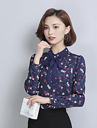 2017 весной новая корейская печать лук кружева шифона рубашку пункт