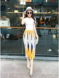 знак 2016 лето мода кружева V-образным вырезом футболки шифон пиджак + юбки 2 комплект