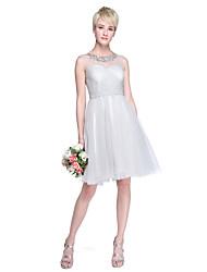 Lanting Bride® Knie-Länge Tüll Mini Me Brautjungfernkleid - A-Linie / Prinzessin Schmuck Übergröße / Zierlich mitApplikationen /