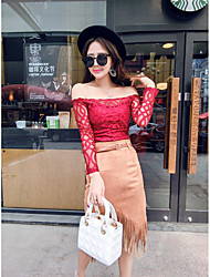 Sign ladies sexy lace collar shirt + suede fringed skirt suit Nett