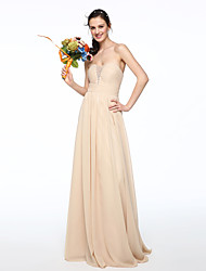 2017 Lanting Bride® Floor-length Chiffon Elegant Bridesmaid Dress - A-line Strapless with Beading Pleats