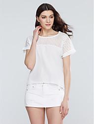 Damen Patchwork Übergröße / Einfach Lässig/Alltäglich T-shirt,Rundhalsausschnitt Sommer Kurzarm Weiß / Schwarz Polyester Dünn