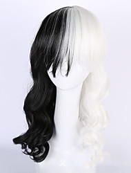 Black/White Cosplay Lolita Party Wig Heat Resistant Cheap Body Wave Half Black Half White Hair