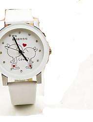Mulheres Homens Relógio de Moda Quartzo Couro Banda Pendente Preta Branco Rosa
