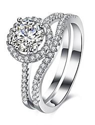 Anéis Casamento Festa Ocasião Especial Diário Casual Jóias Prata de Lei Zircão Anel 1peça,6 7 8 Prateado