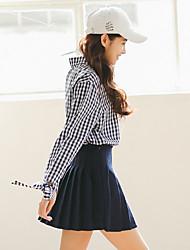 muito kim japonês pavilhão coreano lapela camisa de mangas compridas blusas xadrez grade azul
