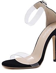 sandálias de verão vestido de borracha sapato transparente fivela stiletto calcanhar