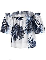 Damen Druck Einfach Ausgehen T-shirt,Bateau Frühling Sommer Kurzarm Baumwolle