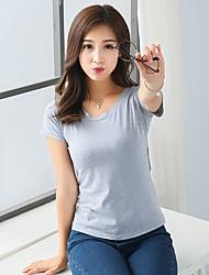 2017 vrouwelijke korte mouwen t-shirt effen kleur katoen ronde hals met korte mouwen t-shirt vrouwelijke zomer wit overhemd lichaam