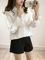 Spring new Women Korean yards shirt loose blouse wild lapel speaker sleeve bottoming shirt tide