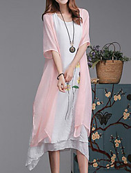 Plus Size Casual/Daily Simple Loose Dress,Floral Round Neck Midi Short Sleeve Cotton Linen Pink Gray Green Summer Mid Rise Inelastic