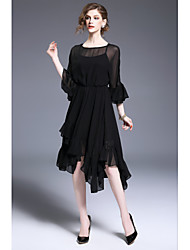 FRMZ Going out Party/Cocktail Sexy Swing DressSolid Round Neck Asymmetrical Long Sleeve Polyester Black Spring Summer High Rise Inelastic