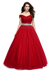 Ball Gown Off-the-shoulder Floor Length Tulle Formal Evening Dress with Beading Crystal Detailing Sequins by QZ
