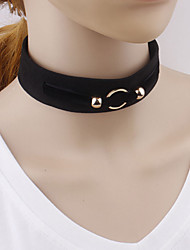 Women Gothic Wide Necklace Simple Geometric Velvet Choker Necklaces Jewelry Wedding Party Special Occasion Halloween Birthday