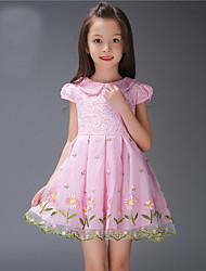 Girl's Print Dress,Cotton Polyester Summer Short Sleeve
