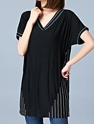Tee-shirt Femme,Rayé Décontracté / Quotidien Travail Grandes Tailles Vintage simple Sophistiqué Eté Manches Courtes Coeur NoirCuirs