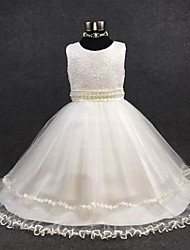 Ball Gown Ankle-length Flower Girl Dress - Organza Jewel with Beading Appliques