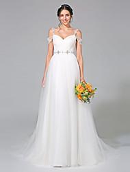 LAN TING BRIDE Trapèze Robe de mariée - Classique & Intemporel Tout Simplement Superbe Traîne Tribunal Bretelles Tulle avecPerlage Effet