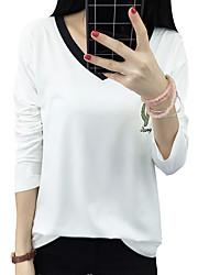 unterzeichnen Frühjahr Modelle mit langen Ärmeln V-Neck T-Shirt weibliche Frauen Hemd grundiert mitfühlende Dame wilden Gezeiten T-Shirt