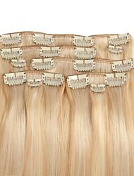 9pcs / set Deluxe 120g Clip in Haarverlängerungen für Frauen blonde 16inch 20inch 100% gerade menschliches Haar vermischt