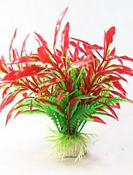 Décoration d'aquarium Plante d'eau Non toxique & Sans Goût Plastique Rouge