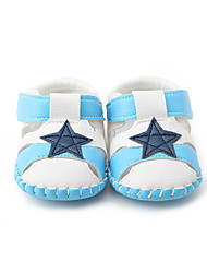 Bebê-Sandálias-Primeiros Passos-Rasteiro-Branco/azul-Couro Ecológico-Casual