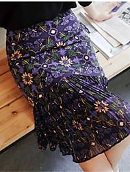 der neue Lotusblatt Fleck Chiffonrock retro halbe Länge hohe Taschen Hüfte war dünn Faltenrock in