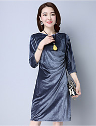 Gaine Robe Femme Décontracté / Quotidien Vintage,Couleur Pleine Col Arrondi Midi Manches ¾ Bleu Noir Vert Argent Coton PolyesterPrintemps