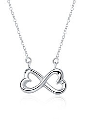 Women's Pendant Necklaces Chain Necklaces Jewelry Copper Silver Plated BowknotUnique Design Dangling Style Pendant Love Geometric