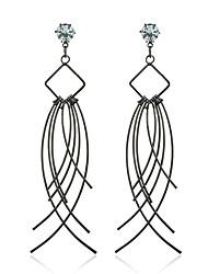 Metal Diamond Stud Earrings Drop Earrings Jewelry Women Wedding Party Casual Zircon Silver Plated 1 pair Black Silver