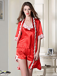 Damen Dessous Satin & Seide Besonders sexy Anzüge Nachtwäsche,Sexy Spitze einfarbig-Dünn Spitze Satin Seide Eis-Seide Blau Rote Schwarz