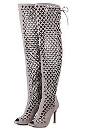 Sandalen-Kleid Lässig-Vlies-Stöckelabsatz-Komfort-Schwarz Braun Rot Grau