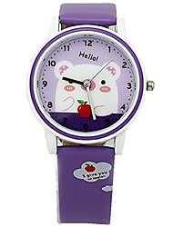 Kids' Fashion Watch Japanese Quartz PU Band Casual Black White Blue Red Pink Purple