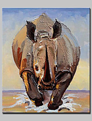 Hand Painted Modern Abstract Rhinoceros Animal Oil Painting On Canvas Wall Art Pictures For Home Decoration Ready To Hang