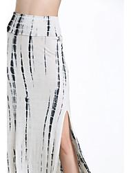 Röcke,Schaukel PunkteLässig/Alltäglich Mittlere Hüfthöhe Midi Elastizität Baumwolle Micro-elastisch Sommer