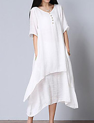Women's Asymmetrical Casual/Daily Simple Loose Dress,Solid V Neck Midi Short Sleeve Cotton White Summer Mid Rise Inelastic