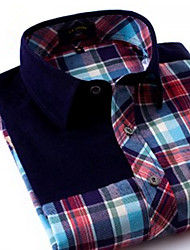 U&Shark Men's 100% Cotton Sanded Soft Business Long Sleeve Shirt with Stitching Green-Red Checks/MMPG04
