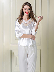 Damen Satin & Seide Anzüge Nachtwäsche,Spitze einfarbig-Dünn Satin Seide Eis-Seide Weiß Rosa Gold