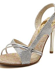 Women's Sandals Summer Comfort Club Shoes PU Wedding Dress Party & Evening Stiletto Heel Buckle Silver Walking