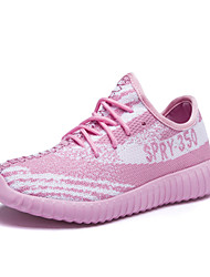 Women's Sneakers Spring Summer Fall Comfort Light Soles Couple Shoes Tulle Outdoor Casual Athletic Flat Heel Lace-up Running
