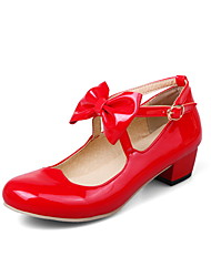 Women's Heels Spring Summer Fall Flower Girl Shoes Patent Leather Casual Chunky Heel Bowknot Buckle Black Pink Red Beige