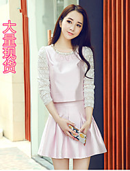 The new long-sleeved suit sweet lace dress waist princess dress two-piece