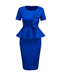 Women's Ruffle Plus Size Going out Work Simple Street chic Slim Falbala Bodycon DressSolid Ruched Round Neck Knee-length Short Sleeve Spring