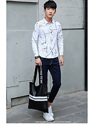 The new trend of men's long-sleeved shirt Slim models male wild casual shirt personalized men's shirt